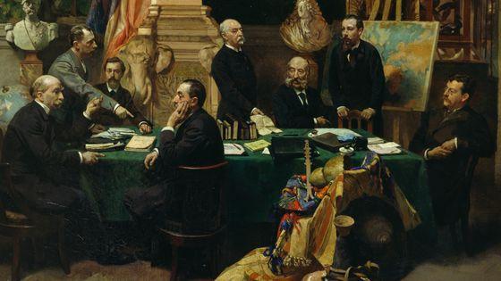 Jules Ferry et des délégations coloniales en novembre 1892, peinture de Frederic Regamey (Musée du Quai Branly)