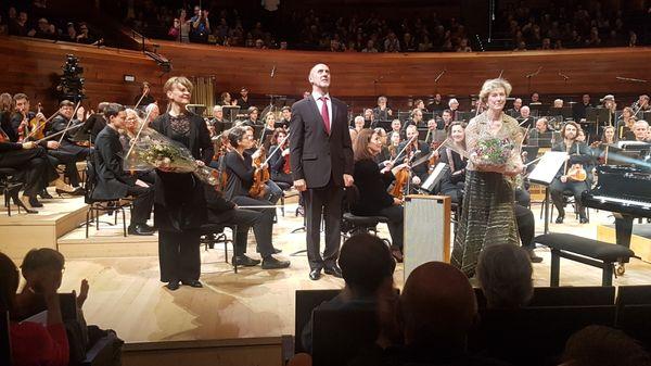 Susanna Mälkki, Roger Muraro et Cynthia Millar - fin du concert vendredi 29 mars 2019 - Auditorium de Radio France