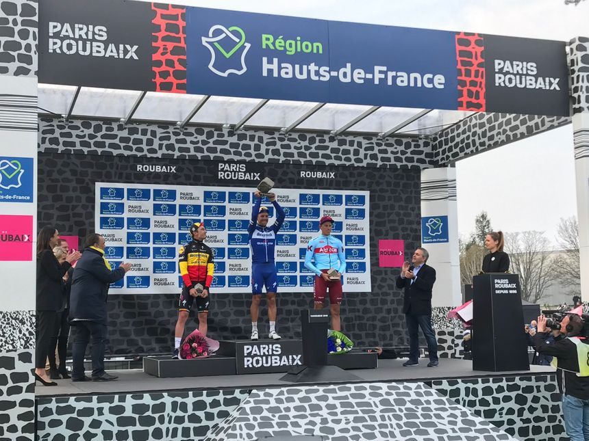 Le podium du Paris-Roubaix 2019