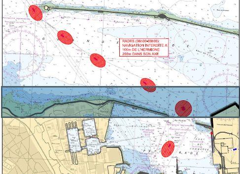 Toute activité nautique seront interdits à moins de 100 mètres du navire « L'Hermione » sur ses côtés et à moins de 200 mètres dans son axe.