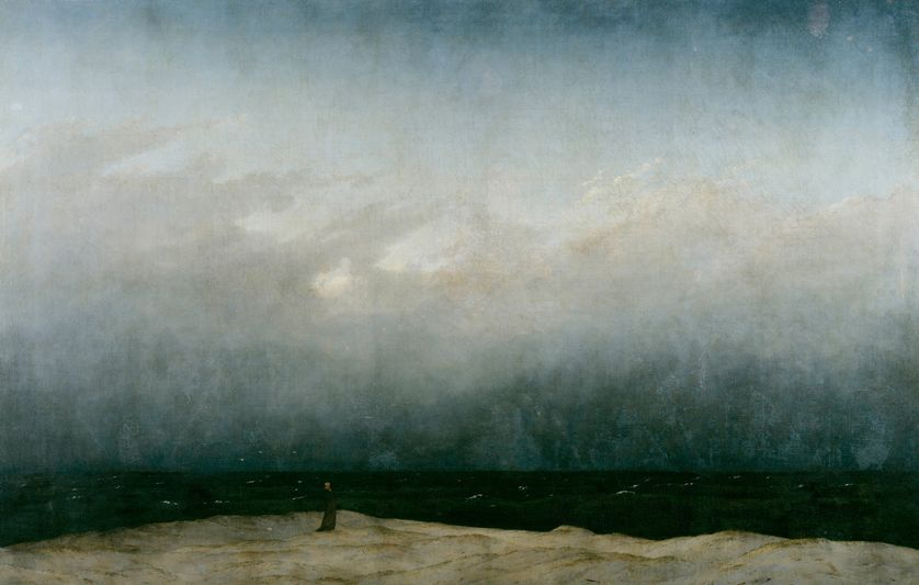 """The monk by the sea"" by Caspar David Friedrich, painted between 1808 and 1810 and exhibited at the Alte Nationalgalerie in Berlin"