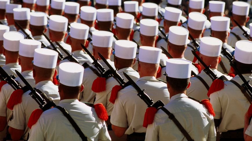 La légion étrangère défile lors de la célébration du 14 juillet à Paris.