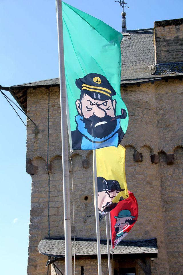 """Depuis le chemin de ronde du Château de Malbrouck en Moselle, pendant l'exposition """"Hergé, une vie, une oeuvre"""""""