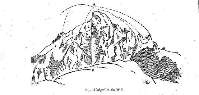L'aiguille du Midi, dans le massif du Mont Blanc dessinée par Viollet le duc
