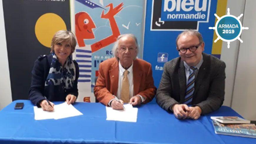 De gauche à droite : Monique Denoix (Radio France), Patrick Herr (Armada) , Bruno Leroy (France Bleu Normandie).