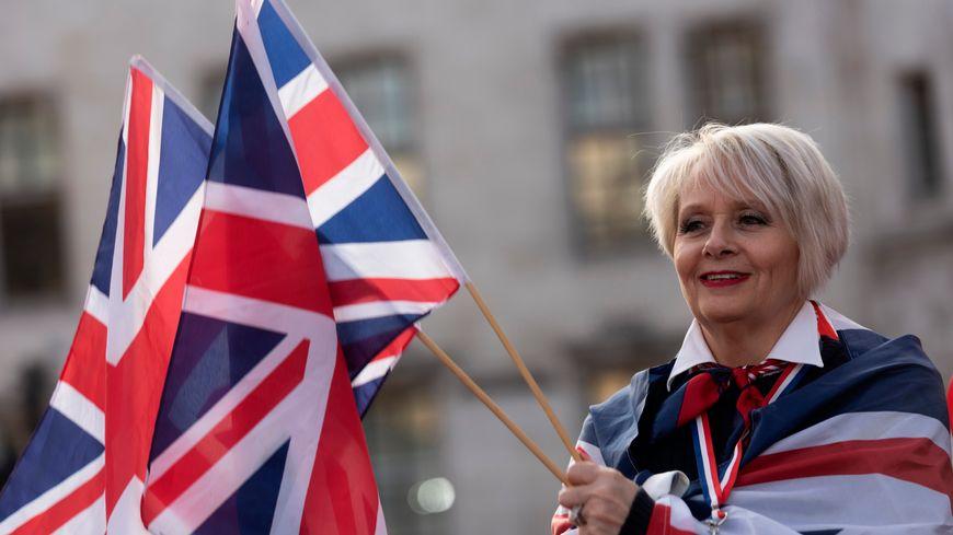 Ur vaouez o vanifestiñ evit ar Brexit d'an 29 a viz Meurzh e Londrez