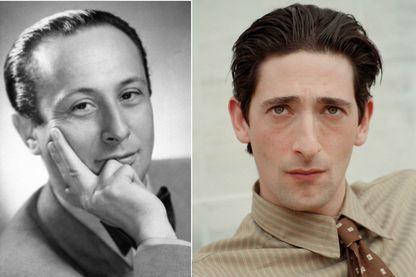"""Wladyslaw Szpilman (à gauche) et son interprète à l'écran, Adrian Brody, dans le film de Roman Polanski, """"Le Pianiste"""", réalisé en 2002."""