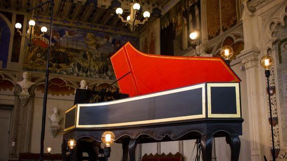 Clavecin - image prise dans le cadre de l'enregistrement des sonates de Scarlatti en Occitanie par France Musique, juillet 2018.