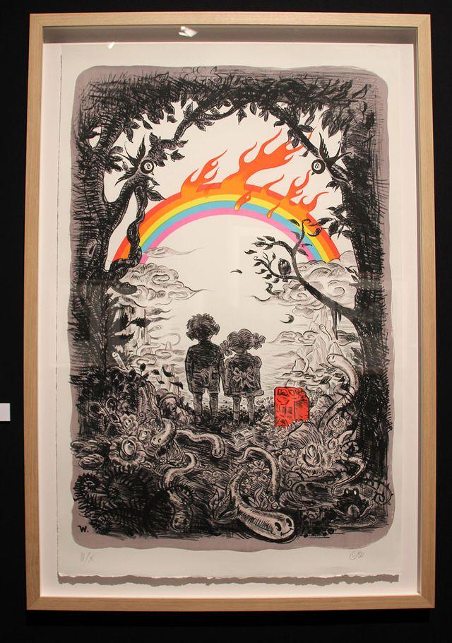 Lithographie de Winschluss dans l'exposition Empreinte graphiques, le 9e art en estampe au PULP festival en avril 2019