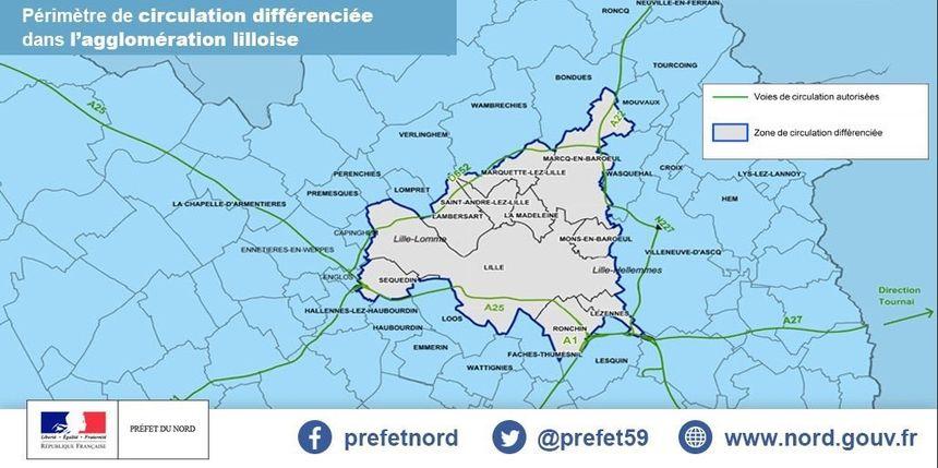 La carte des douze communes concernées par la circulation différenciée.