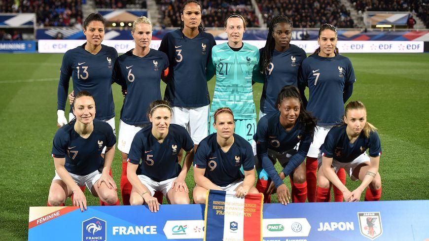 L'équipe de France féminine de football, le 4 avril 2019, avant un match amical face au Japon, à Auxerre