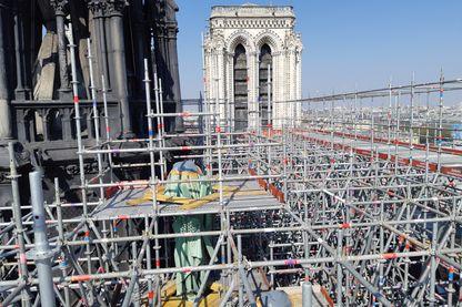 Le chantier de la flèche de Notre-Dame de Paris, le jeudi 11 avril 2019