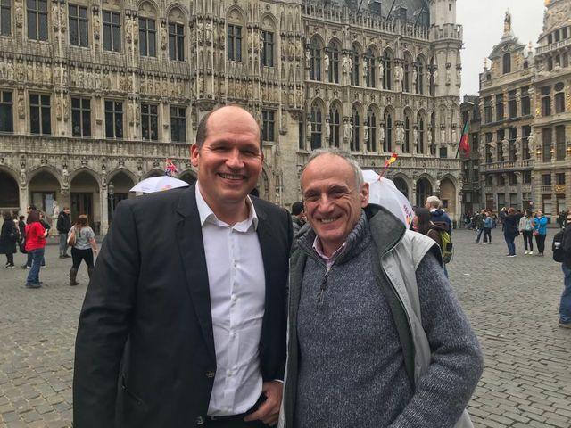 Avec Philippe Close, maire, sur la Grand-Place de Bruxelles