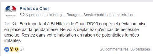 La préfecture de l'Indre a communiqué sur cet incendie sur sa page Facebook