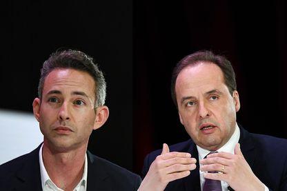 Jean-Christophe Lagarde, tête de liste UDI pour les élections européennes, et Ian Brossat, tête de liste PCF pour les élections européennes
