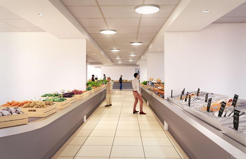 Vue d'un des couloirs des halles de Quimper après rénovation (phot non contractuelle)
