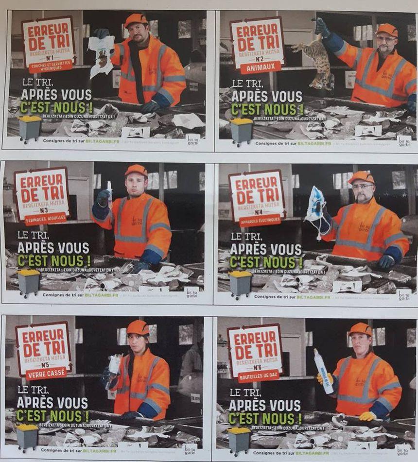 6 des 10 affiches qui font partie de cette campagne choc de sensibilisation des usagers