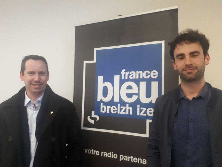 Efflamm Caouissin (a gleiz) ha Yann Kergourlay (a zehoù)
