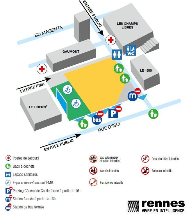 L'accès à l'esplanade Charles de Gaulle se fera par deux entrées