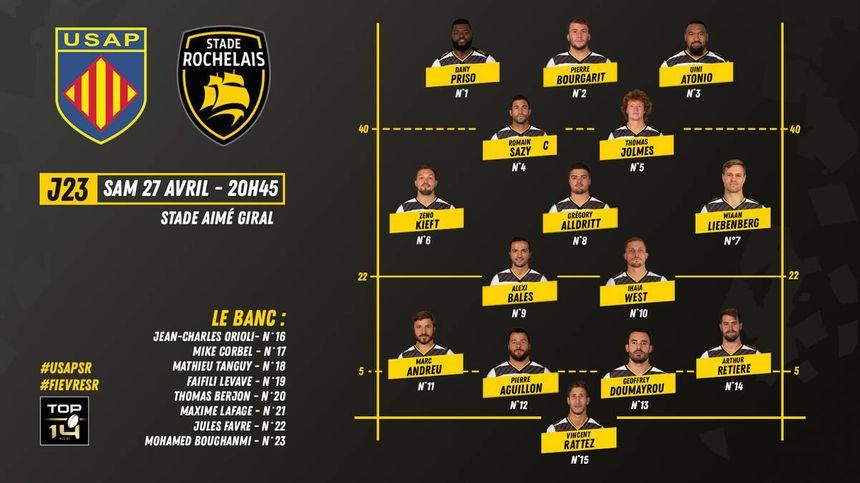 Composition d'équipe de La Rochelle pour le match à Aimé-Giral