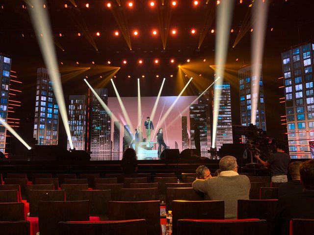 Vincent Niclo pendant les répétitions de l'émission consacrée à Starmania, vendredi dernier au Palais des Congrès
