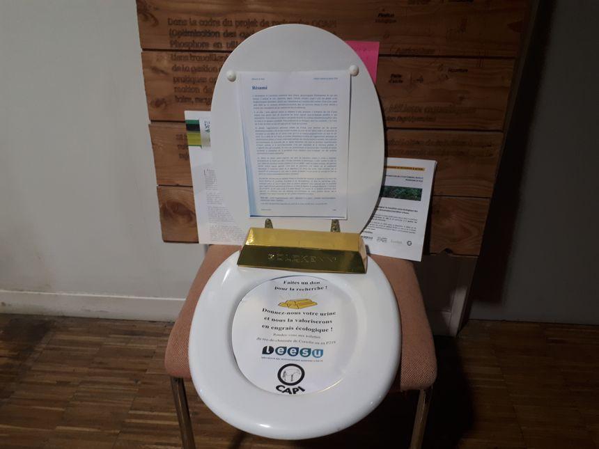 Allégorie pour inciter les étudiants et le personnel de l'Ecole des Ponts ParisTech à participer à la collecte d'urines pour les tests d'épandage.