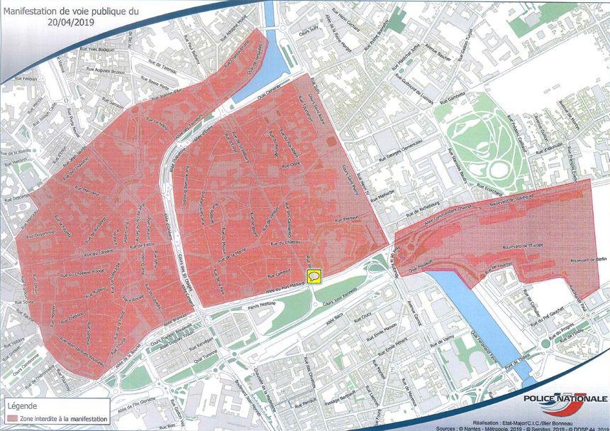 Le périmètre concerné par les interdictions de manifester, ce samedi, à Nantes.