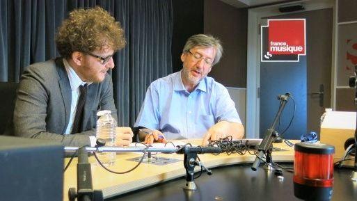 France Musique, studio 131... Le compositeur Jules Matton & Arnaud Merlin, producteur de l'émission (g. à d.)