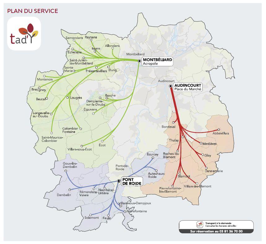 Le plan du service de transport à la demande.