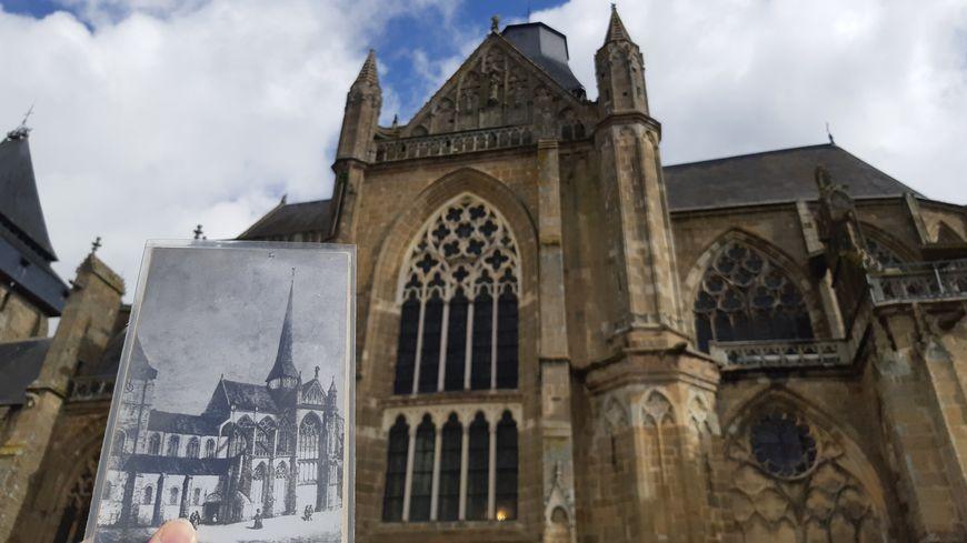 La basilique d'Évron a eu une flèche entre 1606 et 1901.