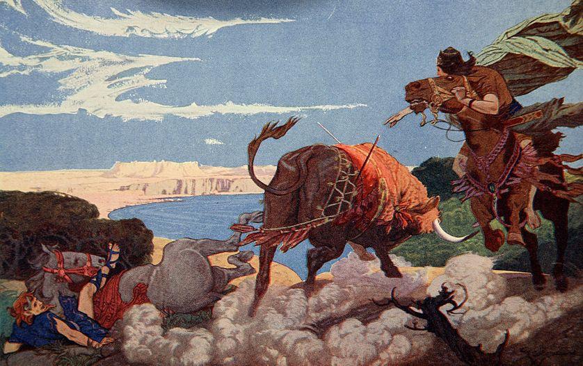 """Gilgamesh terrassant le Taureau célestre, lithographie d'Ernest Wallcousins (1883-1976), extraite des """"Mythes de Babylone et d'Assyrie"""" de Donald A. Mackenzie (1915)"""