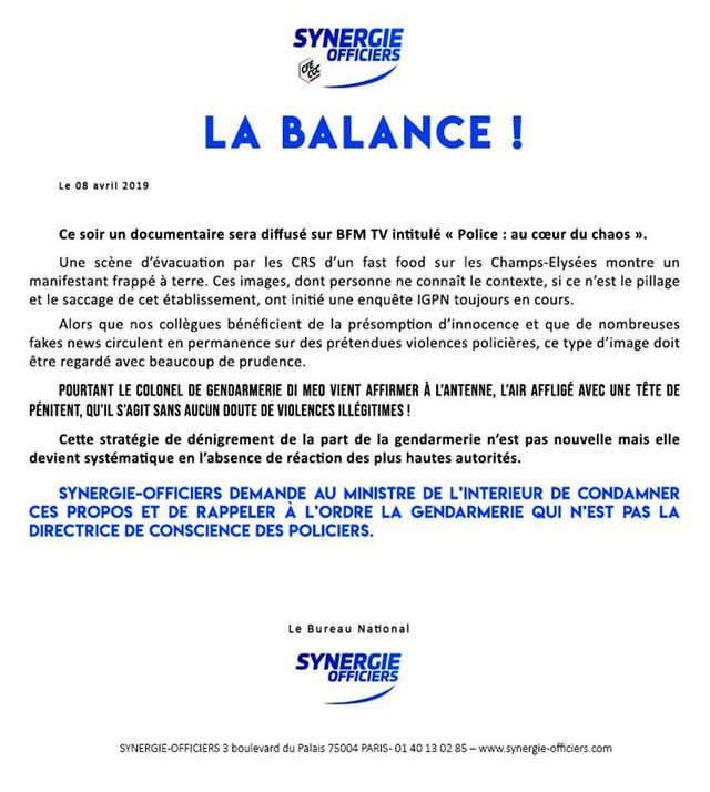 Tract de Synergie Officiers