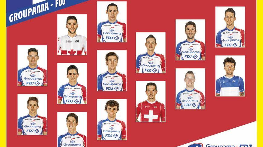 Thibaut Pinot apparaît dans les 14 coureurs de l'équipe Groupama-FDJ.