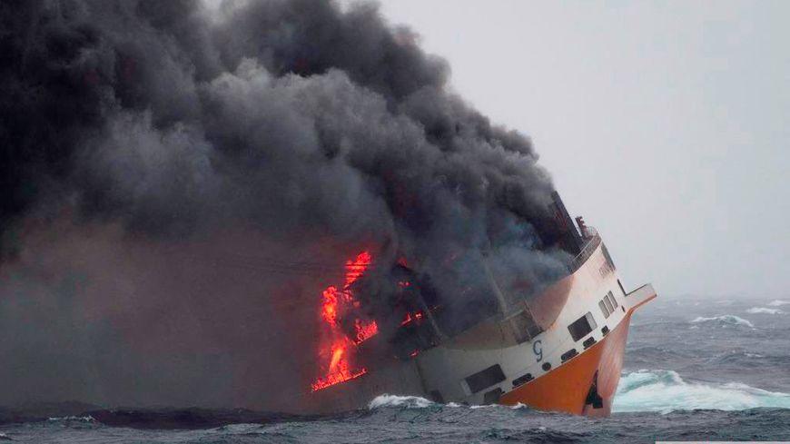 Le Grande America a fait naufrage dans le Golfe de Gascogne le 12 mars suite à un incendie à bord