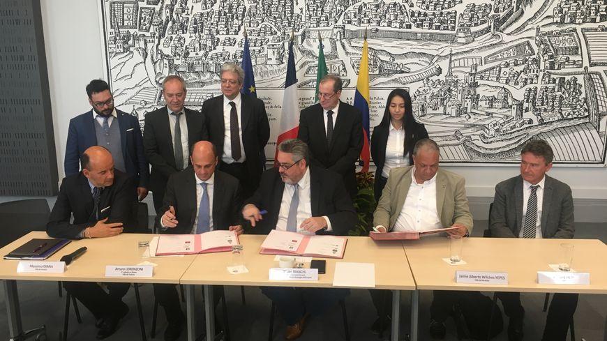 Olivier Bianchi et des représentants de Padoue, Medellin et Venise