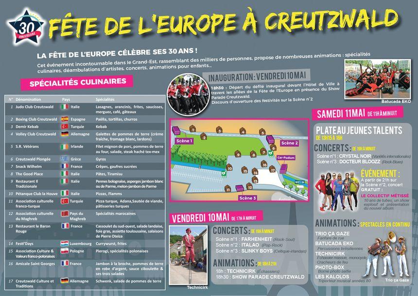 Le programme des festivités de la 30ème fête de l'Europe à Creutzwald