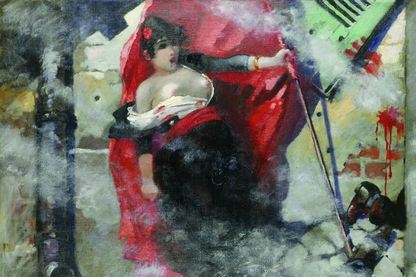 « Louise Michel sur les barricades », toile de Théophile-Alexandre Steinlen, artiste anarchiste