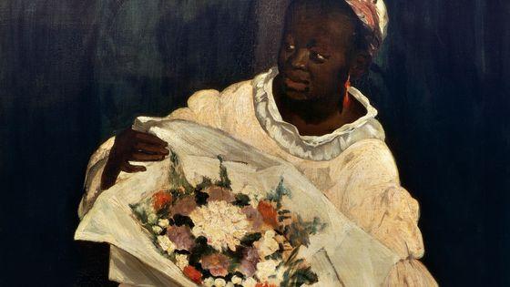 """Olympia, (1863), Edouard Manet, l'un des tableaux de l'exposition """"Le modèle noir de Géricault à Matisse"""" exposé au Musée d'Orsay."""