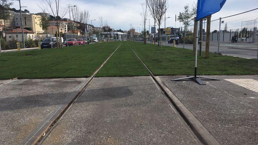Chantier de la ligne 3 du tramway sur le boulevard Simone Veil