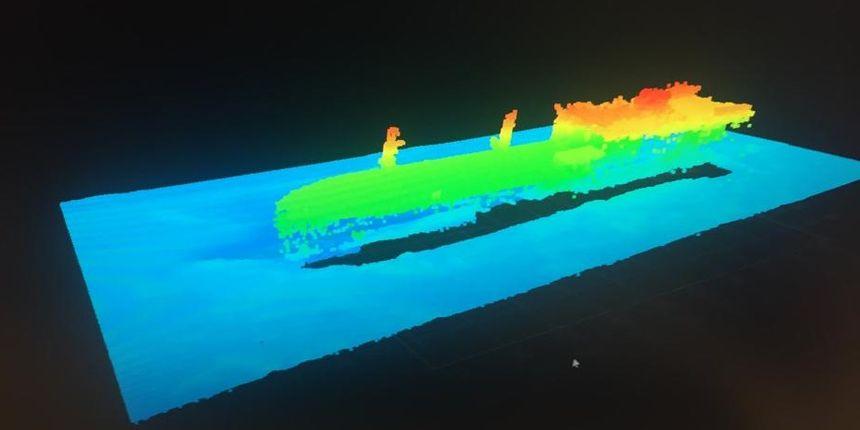 L'épave du Grande America modélisée en image 3D