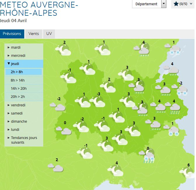Copie d'écran : températures en chute libre en fin de semaine !