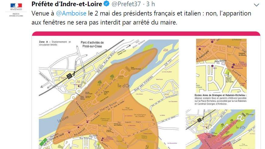 Le tweet publié le mardi 30 avril par la préfète d'Indre-et-Loire pour assurer qu'aucune interdiction d'être aux fenêtres ne sera pris le 2 mai à Amboise