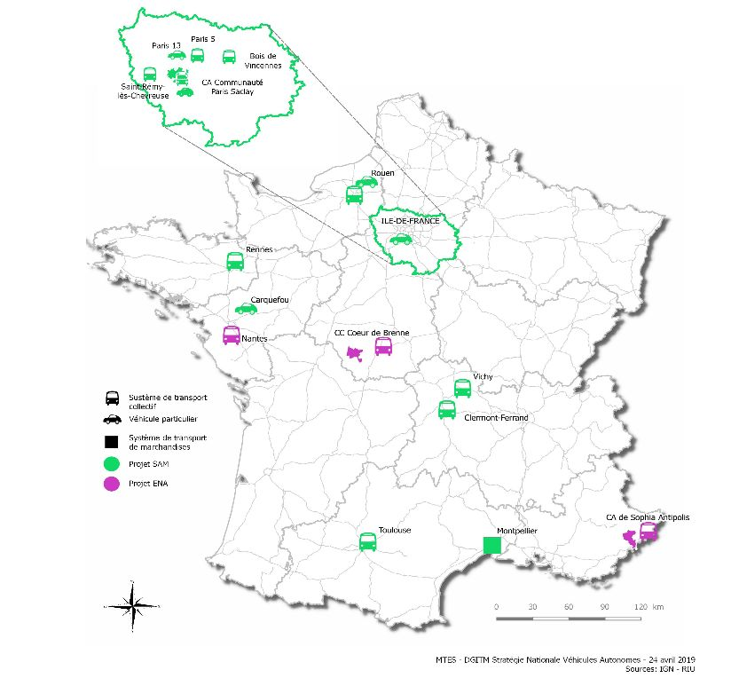 La carte de France des 16 villes choisies pour expérimenter les navettes autonomes
