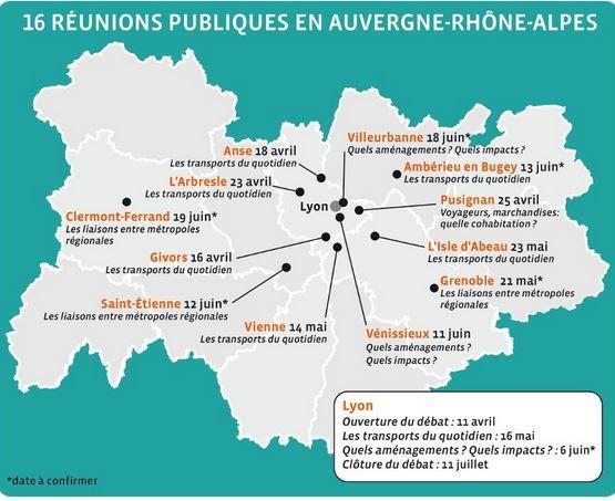 Programme des reunions du débat ferroviaire régional