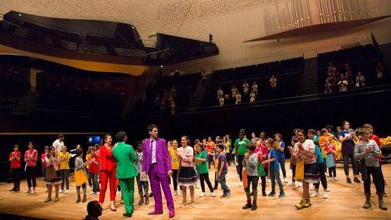 Lors d'une répétition de l'opéra Brundibar à la Philharmonie de Paris