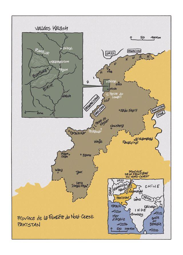 """Carte extraite de """"Fêtes himalayennes, les derniers Kalash"""", page 4. Dessins d'Hubert Maury, couleurs de Philippe Marlu."""