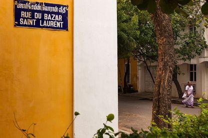 Rue du Bazar Saint Laurent à Pondicherry