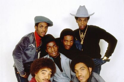 Portrait du groupe de hip hop, Grandmaster Flash And The Furious Five décembre 1980.