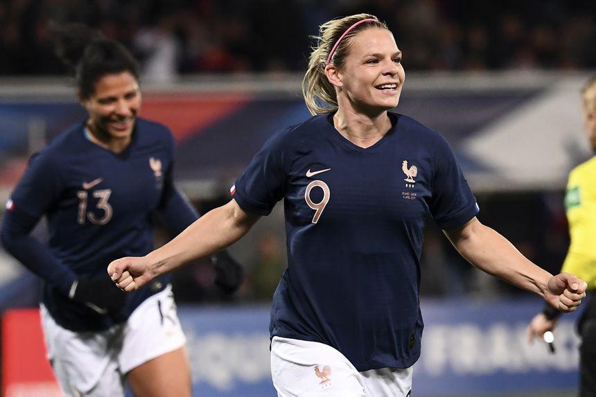 Eugénie Le Sommer, après avoir inscrit un but contre le Japon le 4 avril dernier.