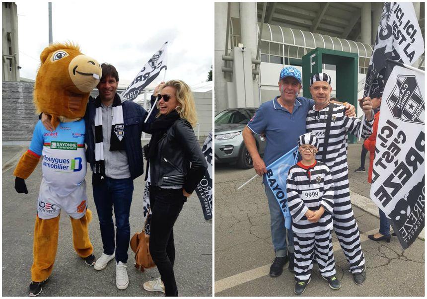 Bonne ambiance entre supporters bayonnais et brivistes à l'arrivée au stade
